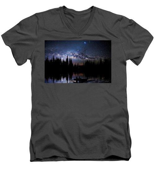 Canoeing - Milky Way - Night Scene Men's V-Neck T-Shirt by Andrea Kollo