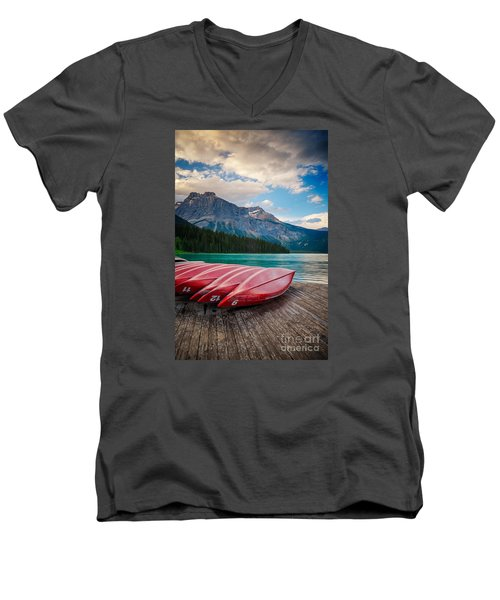 Canoes At Emerald Lake In Yoho National Park Men's V-Neck T-Shirt