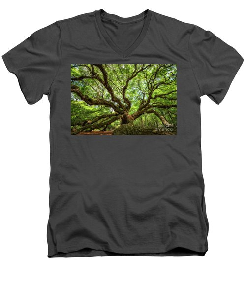 Canopy Of Color At Angel Oak Tree  Men's V-Neck T-Shirt by Michael Ver Sprill
