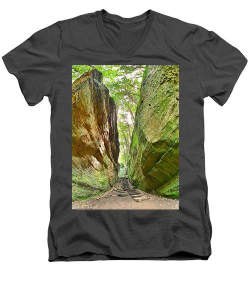 Cantwell Cliffs Trail Hocking Hills Ohio Men's V-Neck T-Shirt