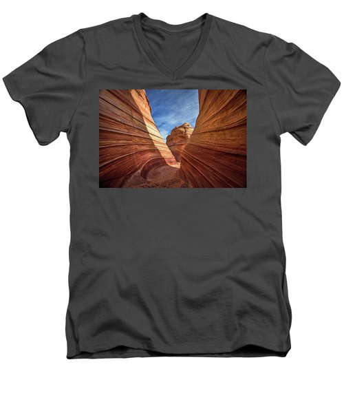 Men's V-Neck T-Shirt featuring the photograph Canyon Atthe Wave by Wesley Aston