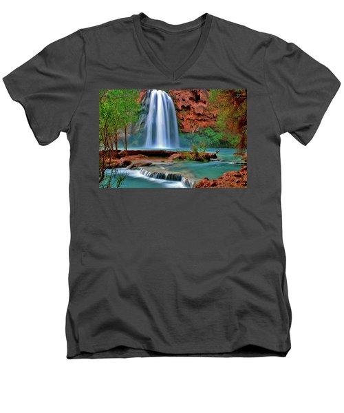 Canyon Falls Men's V-Neck T-Shirt by Scott Mahon
