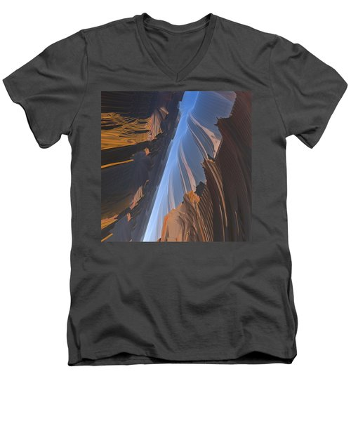 Men's V-Neck T-Shirt featuring the digital art Canyon by Lyle Hatch