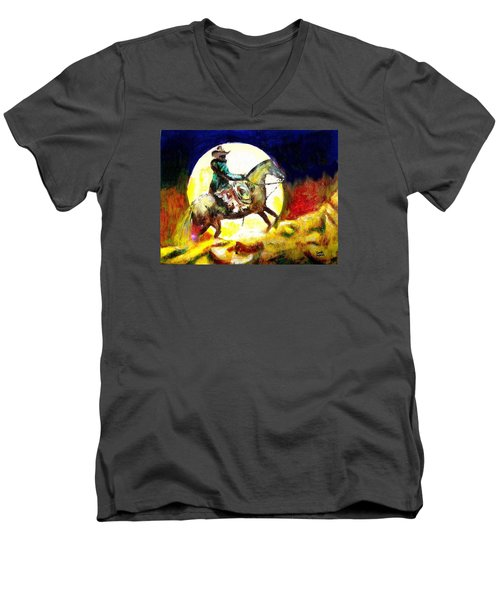 Men's V-Neck T-Shirt featuring the painting Canyon Moon by Seth Weaver