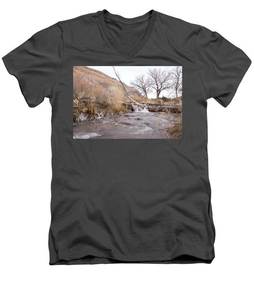 Canyon Stream Current Men's V-Neck T-Shirt by Ricky Dean