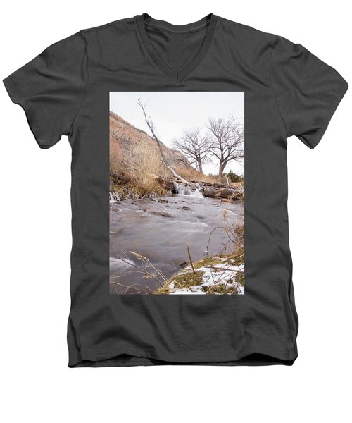 Canyon Stream Falls Men's V-Neck T-Shirt by Ricky Dean