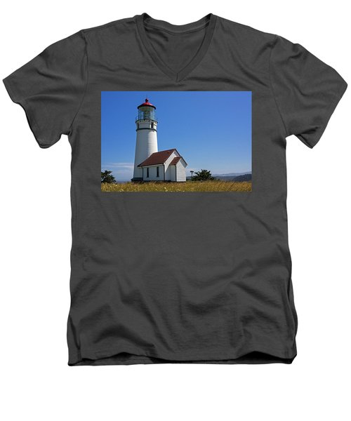 Cape Blanco Lighthouse H Men's V-Neck T-Shirt by Inge Riis McDonald