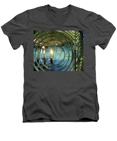 Cape Blanco Lighthouse Lens Men's V-Neck T-Shirt by James Eddy