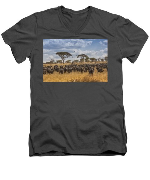 Men's V-Neck T-Shirt featuring the tapestry - textile Cape Buffalo Herd by Kathy Adams Clark