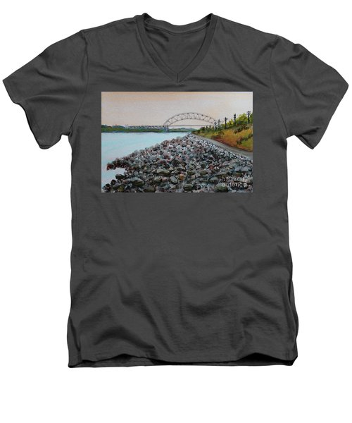 Cape Cod Canal To The Bourne Bridge Men's V-Neck T-Shirt by Rita Brown