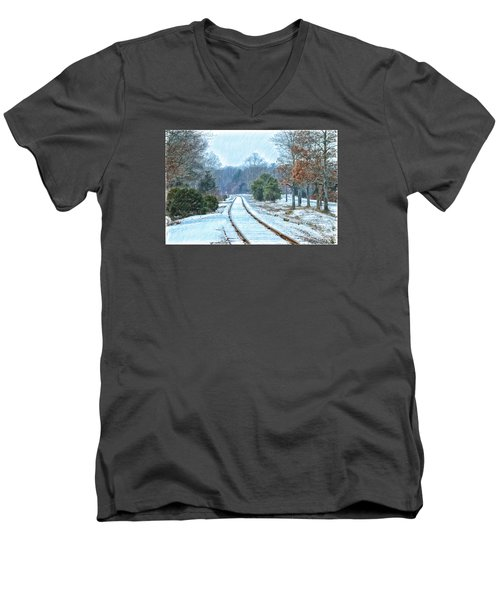 Cape Cod Rail And Trail Men's V-Neck T-Shirt by Constantine Gregory