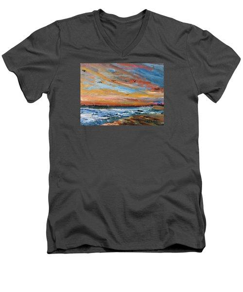 Cape Cod Sunrise Men's V-Neck T-Shirt by Michael Helfen
