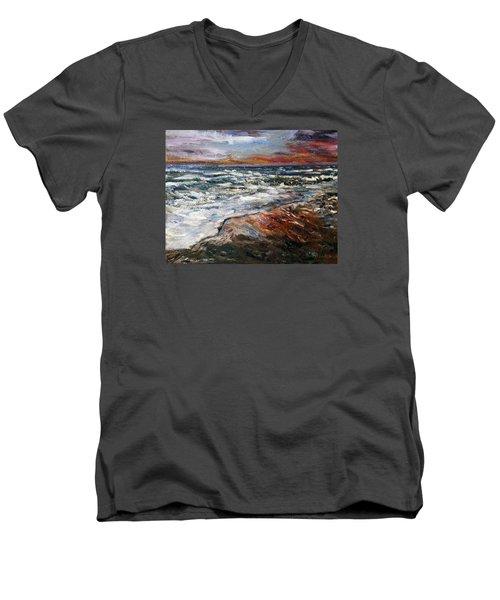 Cape Cod Sunset 1 Men's V-Neck T-Shirt by Michael Helfen