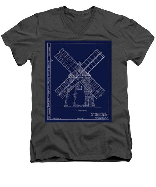 Historic Cape Cod Windmill Blueprint Men's V-Neck T-Shirt by John Stephens