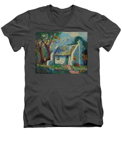 Cape Cottage With Mountains Art Bertram Poole Men's V-Neck T-Shirt by Thomas Bertram POOLE