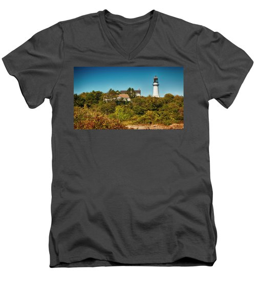 Cape Elizabeth Lighthouse Men's V-Neck T-Shirt