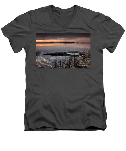 Men's V-Neck T-Shirt featuring the photograph Cape Fear Sunset Serenity by Phil Mancuso