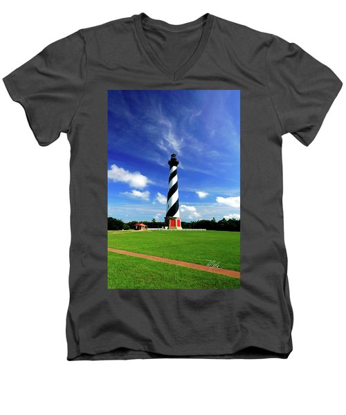 Men's V-Neck T-Shirt featuring the photograph Cape Hatteras Lighthouse by Meta Gatschenberger