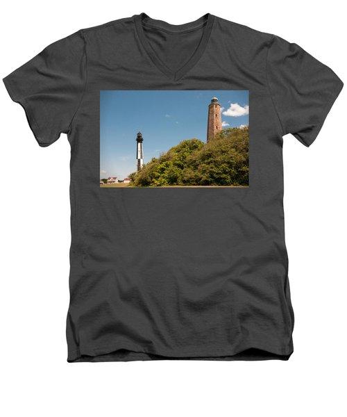 Cape Henry Lighthouses Old And New Men's V-Neck T-Shirt