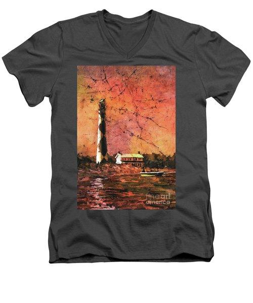Cape Lookout Lighhtouse Men's V-Neck T-Shirt by Ryan Fox