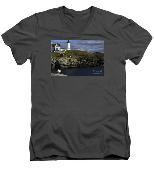 Men's V-Neck T-Shirt featuring the photograph Cape Neddick Lighthouse by Mim White