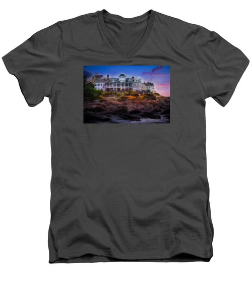 Men's V-Neck T-Shirt featuring the photograph Cape Neddick Maine Scenic Vista by Shelley Neff