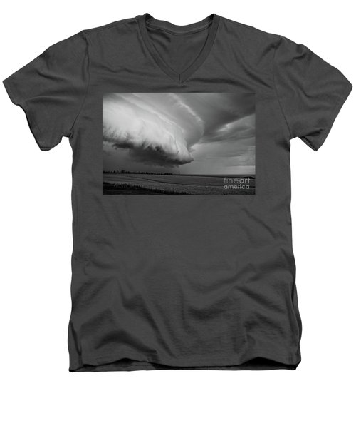 Men's V-Neck T-Shirt featuring the photograph Cape Tyron Vortex Black And White by Edward Fielding