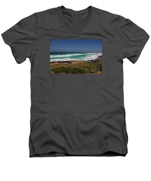 Capetown Peninsula Beach Men's V-Neck T-Shirt by Bev Conover