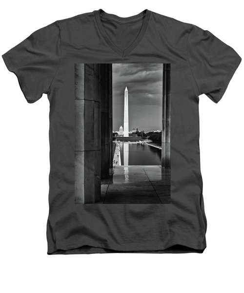 Capita And Washington Monument Men's V-Neck T-Shirt by Paul Seymour