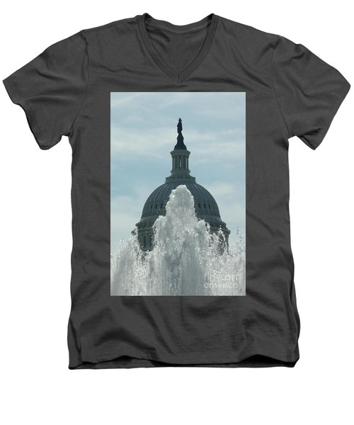 Capital Dome Behind Fountain Men's V-Neck T-Shirt