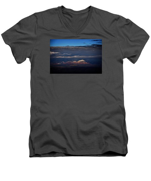Men's V-Neck T-Shirt featuring the photograph Capitol Butte In Sedona With Snow by Ron Chilston