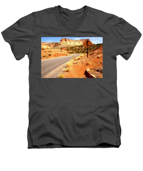 Men's V-Neck T-Shirt featuring the photograph Capitol Curves Ahead by Adam Jewell