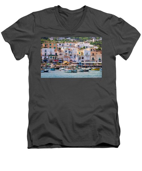 Capri Boat Harbor Men's V-Neck T-Shirt