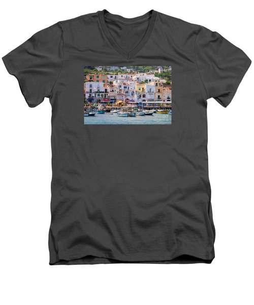 Capri Boat Harbor Men's V-Neck T-Shirt
