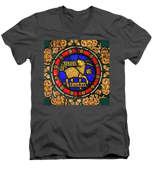 Men's V-Neck T-Shirt featuring the digital art Capricorn by Asok Mukhopadhyay