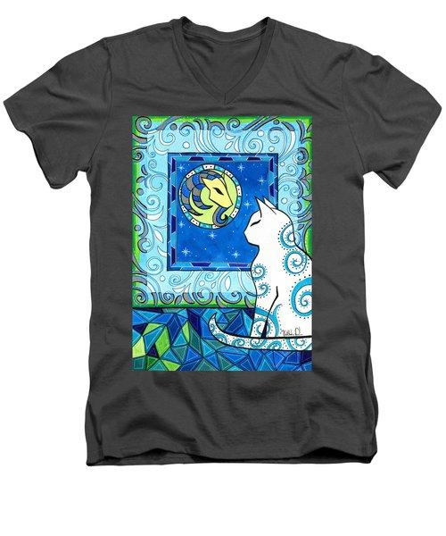 Capricorn Cat Zodiac Men's V-Neck T-Shirt