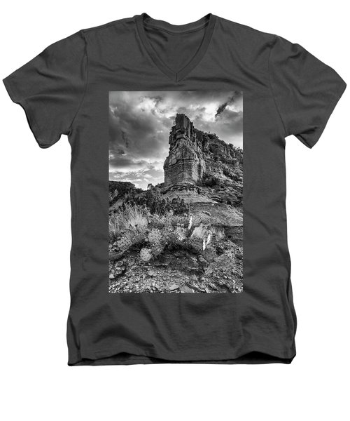 Men's V-Neck T-Shirt featuring the photograph Caprock And Cactus by Stephen Stookey