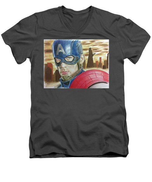 Men's V-Neck T-Shirt featuring the drawing Captain America by Michael McKenzie