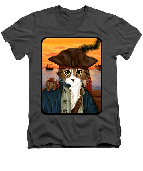 Captain Leo - Pirate Cat And Rat Men's V-Neck T-Shirt