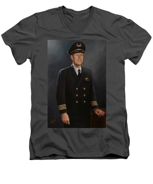 Men's V-Neck T-Shirt featuring the painting Captain Max Livingston by Glenn Beasley