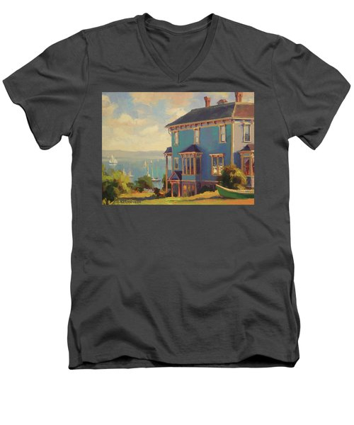 Men's V-Neck T-Shirt featuring the painting Captain's House by Steve Henderson