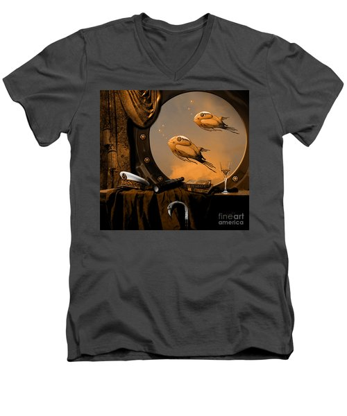 Men's V-Neck T-Shirt featuring the digital art Captan Nemo's Room by Alexa Szlavics