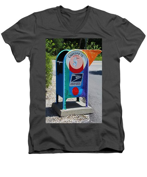 Men's V-Neck T-Shirt featuring the photograph Captiva Island Mailbox- Vertical by Michiale Schneider