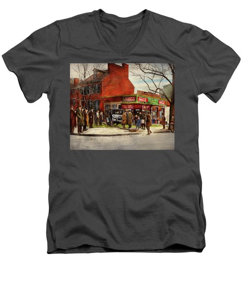 Men's V-Neck T-Shirt featuring the photograph Car - Accident - Looking Out For Number One 1921 by Mike Savad