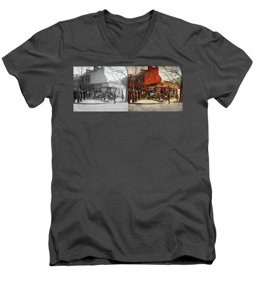 Men's V-Neck T-Shirt featuring the photograph Car - Accident - Looking Out For Number One 1921 - Side By Side by Mike Savad