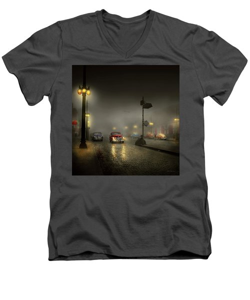 Men's V-Neck T-Shirt featuring the photograph Car - Down A Lonely Road 1940 by Mike Savad