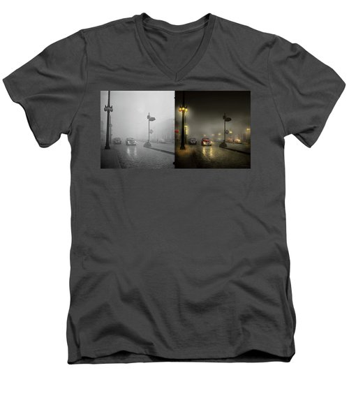 Men's V-Neck T-Shirt featuring the photograph Car - Down A Lonely Road 1940 - Side By Side by Mike Savad