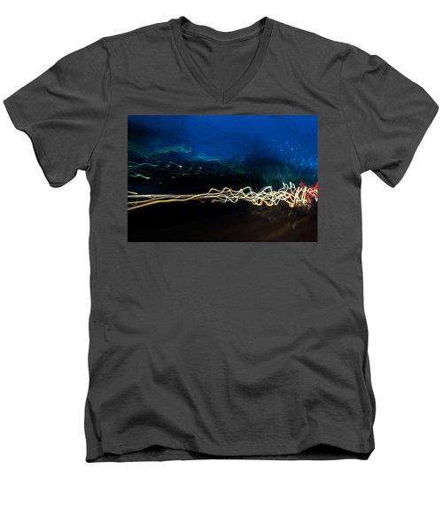 Car Light Trails At Dusk In City Men's V-Neck T-Shirt