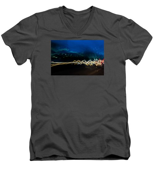 Car Light Trails At Dusk In City Men's V-Neck T-Shirt
