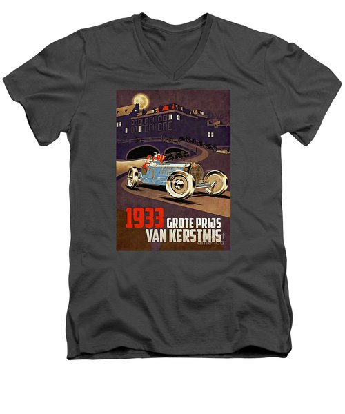 Car Racing Christmas Poster Of The 30s Men's V-Neck T-Shirt